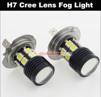 Wholesale LED H7 12 SMD 5050 Parking Light Cree Lens Fog Light Daytime Running Light 100PCS/lot