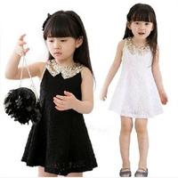 2014 Children Casual Dress Girl Princess Dress Female Child Sleeveless Lace Dress Kids Summer Wear Bowknot Dress YYJ754