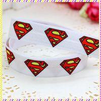 5/8'' Free shipping Fold Over Elastic FOE superman printed headband headwear hair band diy decoration wholesale OEM P3488