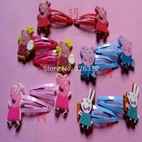 Wholesale girls kids Peppa pig Doll Metal hair Barrette Head Hair clips hairgrips Clamp accessories Hairpin Headwear RJ3039
