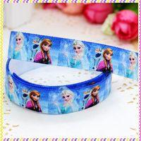 5/8'' Free shipping Fold Over Elastic FOE frozen printed headband headwear hair band diy decoration wholesale OEM P3497