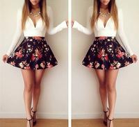 saias femininas women sexy explosion models long-sleeved low-cut floral mini-dress v-neck patchwork print dress VestidosLJ150XGJ