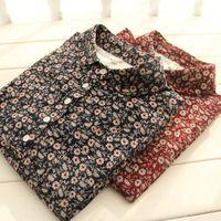 Vintage flowers print long sleeve dress mori girl