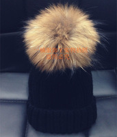 Raccoon hair ball knitted hat raccoon fur ball knitted hat