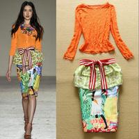 Hot 2015 New Spring Fashion Women's Lace Top + Slim Peplum Fancy Skirt 2 pcs Set Free Shipping  F16579