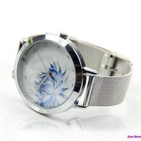 Women Lady Fashion Blue Lotus Rhinestone Stainless Steel Mesh Quartz Wrist Watch Free Shipping