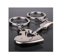 Free shipping 200sets/lot=400pcs/lot romantic design wedding souvenirs wedding key chain gifts metal wedding gifts