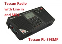 Original Tecsun PL-398MP PL398MP radio with Line in and MP3 Global Band Digital Tuning Stereo Radio Receiver MP3 Player Black