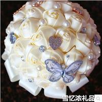 2015 New Elegant Handmade Luxurious crystal pearl silk holding flower Bride Bouquets silk Bridal Wedding Bouquets C2269