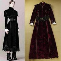 Boutique Women's Stand Collar Cutout Crochet Luxury Extra Long Wool Coat Winter Overcoat F16575