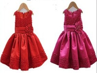 2014 New Christmas Girls Dress Hot Rose Grade Girl Clothes Princess Party Wear Children Clothes
