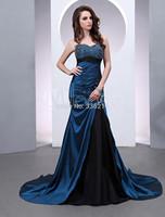2014 Long Beading Taffeta Mermaid Evening Dress Chapel Train Party Dresses Prom Gowns