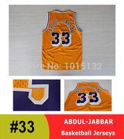 Los Angeles #33 Kareem Abdul-Jabbar Basketball Jersey Yellow Throwback Jersey Free Shipping