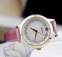 2014 New High Quality 5 Colors Fashion Casual Luxury Watch Leather Rhinestone Round Women Watch Women Dress Watch  911