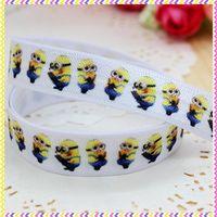 5/8'' Free shipping Fold Over Elastic FOE minions printed headband headwear hair band diy decoration wholesale OEM P3495