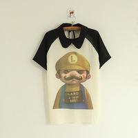 2015 spring new Korean Super Mario Bros Raglan women short sleeve chiffon blouse cartoon female shirt Free shipping