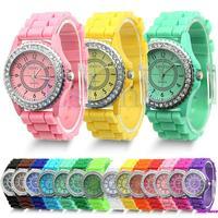 Geneva Fashion Crystal Jelly Gel Silicon Girl Women's Quartz Wrist Watch Free Shipping