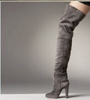 sexy chunk heels grey suede thigh high boots stretch elastic over the knee bootie