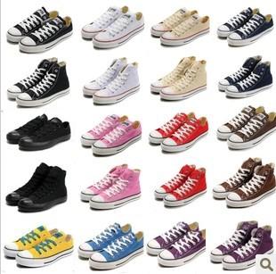 Livraison gratuite! Unisexe. 18 couleurs hommes, femmes basse et haute chaussures en toile style lace up occasionnelsprix respirant. chaussures de sport pour les femmes, chaussures conseil