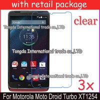 free shipping 3x clear screen protector lcd film guard case For Motorola Moto Droid Turbo XT1254 Maxx,with retail package