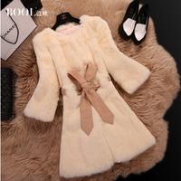Free shipping 2015 New Korean thickening winter long rabbit fur sweet take three-quarter sleeve coat really rabbit fur ( M-2XL)