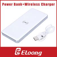 Eloong 2in1 Qi Wireless Charger Transmitter 10000mAh Cell Phone Dual USB Port Power Bank Rechargeable Battery P063