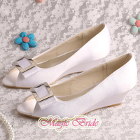 (14 Colors)Custom Handmade Peep Toe White Wedge Party Shoes for Wedding Low Heel Free Shipping