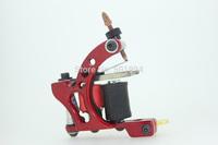 Tattoo Machine New Sale Electric 2014 Trendy Handmade Tattoo Machine Gun Silver Red Color 10 Wrap Coils Shader Liner Supplies