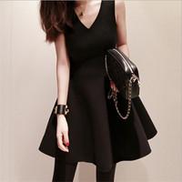 Fall Winter Clothes Fashion Plus Size Dress Sexy V-neck Sleeveless A-line Black Dress For Women S-3XL 10307