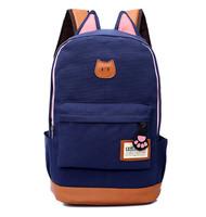 Hot Sale Cute Cartoon Cat Ear Canvas Shoulder Bags School Bag Backpack for Girls and Boys,Fashion Women Rucksack
