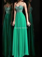 Chiffon Fabric vestidos de festa vestido longo 100% Beading HandWork Long Evening Dress OL102412
