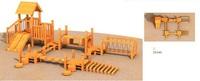 Kids outdoor wood playground equipment