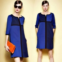 2014 autumn one-piece dress plus size slim elegant patchwork color block half sleeve dress