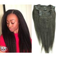 7pcs/set Malaysian virgin hair clip in human hair extensions malaysian kinky straight 120g free shipping clip in hair extensions