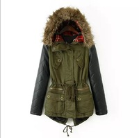 2014 Army Green Faux Fur Lined Coat Slim Women's Fur Collar Hooded Parka Leather Stitching Sleeve Zipper Women Jacket Zex103