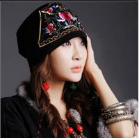 Free Shipping ! Top-hot nation style embroidered embroidery Hair Barrette nation trend embroidery scarf hat