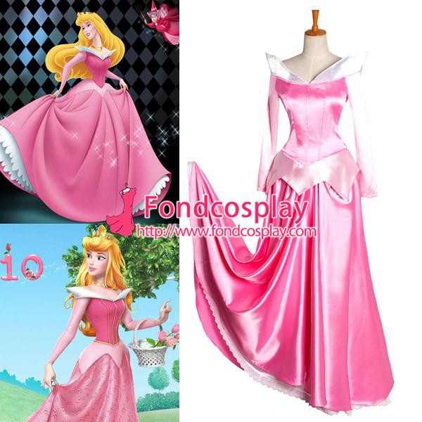 Güzel pembe saten prenses uyuyan güzel elbise film cosplay kostüm