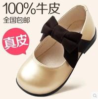 2014 spring girls genuine leather shoes Korean footwear children party shoes bright cow split skin princess single golden shoes