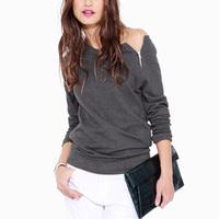 Womens Female Fashion Side Zipper Off Shoulder Long Sleeve Blouse Casual Tops Shirt Sweatshirt
