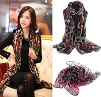 Christmas Gift 2014 Women Autumn Summer Georgette Long Wrap Scarf Lady Shawl Gauze Stole Heart Pattern Leopard Silk Scarves Free