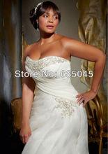 Robe De Mariage 2014 New Custom Made White Ivory Organza Pleat Beading Mermaid Wedding Dress Plus