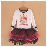 Girl Hello Kitty Dress Girls' Autumn -Summer Cartoon Dresses New 2014 Wholesale Kids Layered Clothes 6pcs/lot S-0429