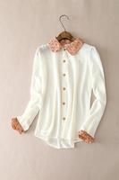 2015 New arrival japanese styles long sleeve women chiffon printed blouse ,OL women casual shirt Free shipping