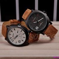 Men's Watches Sport Men Military Leather Strap Wrist Quartz Watch Free Shipping