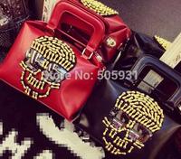 Funny Bone Beading Skull Sunglass Handbag Women High Quality PU Black Red