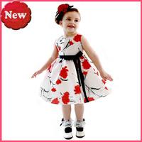 dress girl Baby Dress Summer Girl Dress Flowers covered with  black belt princess dress free shipping