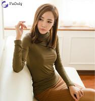 2014 New Winter Shirts Long Sleeve Elastic Slim T-shirts Women Free Shipping c1339