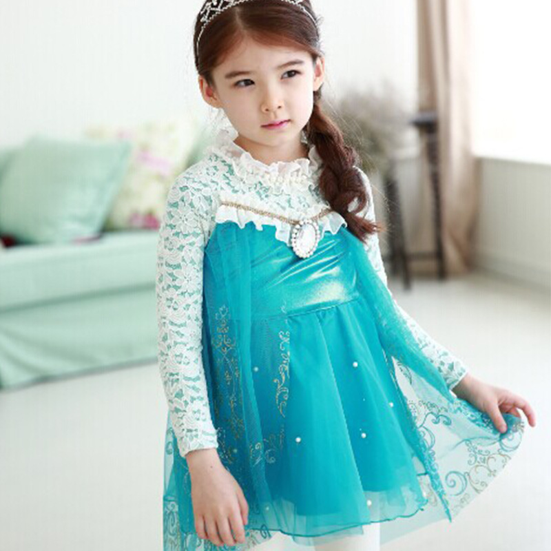 Foreign trade children princess dress wholesale ice enchanted Princess lace Girl 5 / many children free shipping(China (Mainland))