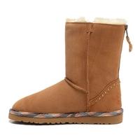 Int'l Brand Chestnut Australia women Boots Sheepskin,Real wool 1007491 maroon Short Rock zipper Rivet snow boots winter shoes