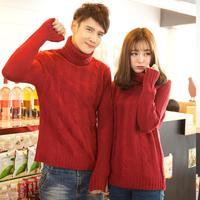 winter coat QM34F65*2014 Winter wear turtlenecks ladies and men's sweaters twist sweater sweater lovers thick needle sweater